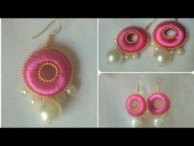 Pink Silk Thread Pearls Earrings. DIY. Simple And Easy Tutorial
