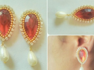 Simple And Easy single pearl Earring. DIY.  Simple and easy Tutorial