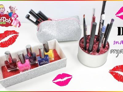 Sparkly Makeup Bag DIY | Brush And Nail Polish organizer
