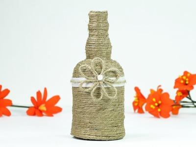 Turn Glass Bottle into Beautiful Flower Vase - Super Easy Waste Bottle Craft.