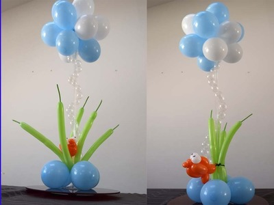 Under the sea theme Balloon centerpiece party decorations How to DIY Tutorial