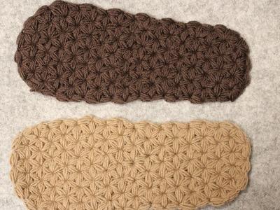 Warm , soft & cuddly - Crochet Slipper Sole - Triangle Star Stich - puffed - Part 1
