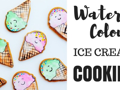 Watercolour Ice Cream Cookies | How To Illustrated Painted Cookie DIY tutorial Kawaii