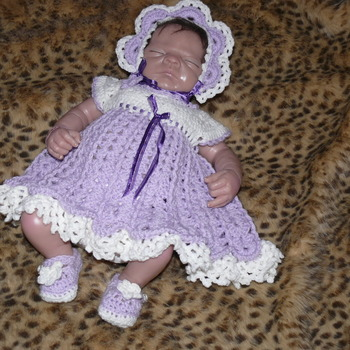 Baby Dress, Bonnet, and Mary Jane Shoes