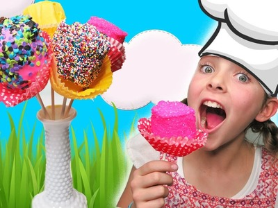Chef Ava How To Make Simple Giant Flower Marshmallow Pops | Kids Cooking and Crafts Easy DIY Guide
