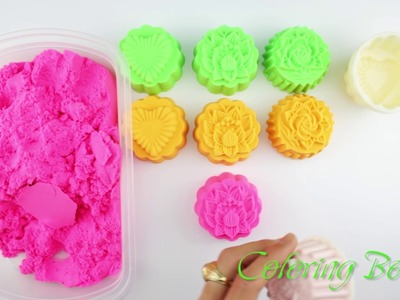 DIY Kinetic Sand How to make Moon Cake Toy for kids Learn Colors