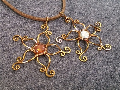 Flower pendant - How to make wire jewelery 213
