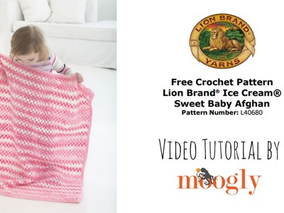 How to Crochet: Lion Brand Ice Cream Sweet Baby Afghan (Left Handed)