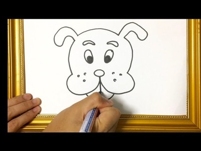 HOW TO LEARN TRACE SIMPLE DRAWING ANIMAL : DOG'S FACE USING MARKER PEN
