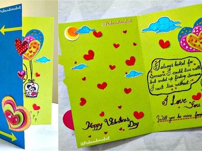 How to make a beautiful Valentine day card     Timelapse