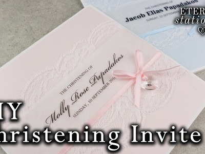 How to make a cute Christening. Baptism Invitation Card | with Swarovski elements | DIY Invitations