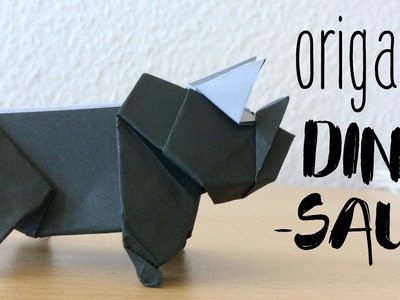 How to make a Paper Dinosaur   Origami Dinosaur Triceratops