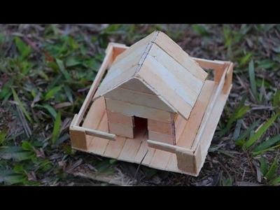 How to make a Popsicle stick house - Miniature ice Cream Sticks House