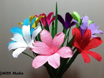 How to make an origami tecophilaea cyanocrocus paper flower-crepe paper flower craft  tutorials