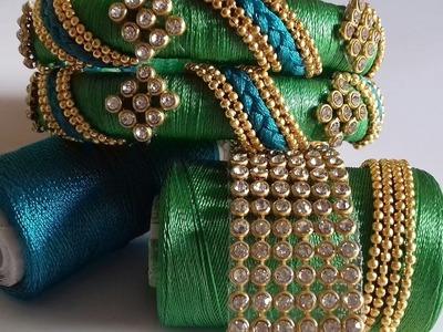 How to make designer silk thread bangles at home || making of designer silk thread bangles at home
