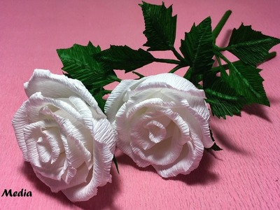 How to make rose flower  by crepe paper. origami paper flower tutorials. paper craft