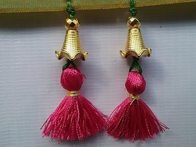 How to make saree kuchu easily,saree kuchu with flower caps&beads,saree kuchu design#18,DIY tutorial