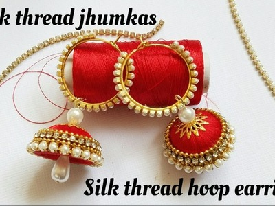 How To Make Silk Thread Jhumkas Hoop Style|Ring style silk Thread Jhumkas