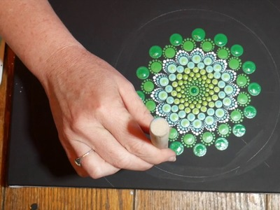 How to paint Rock mandalas #7-Spring Green