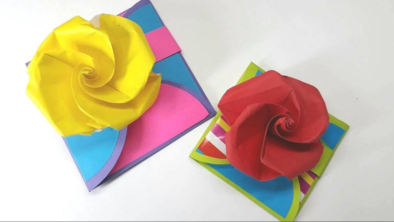 Origami Tutorial - How to fold an Easy Origami Happy Birthday. Card
