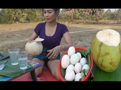 Amazing Girl Cooking Coconut With Eggs - Coconut With Eggs Recipe - How to Grill Eggs In Coconut