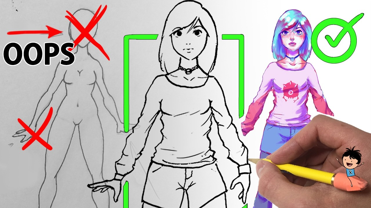 "Anime Hack: ""1,35,12,12,12,????"" How to Draw a FEMALE Body (Easy Manga Girl Tutorial)"