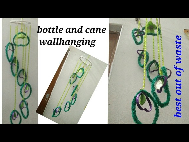 DIY how to make beautiful wind chime. wallhanging with plastic bottles and cane best out of waste