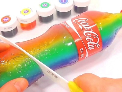 DIY How To Make Colors Coca Cola Bottle Pudding Gummy Learn Colors Slime Combine | ABC Song BINGO