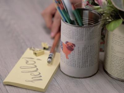 DIY Tin Can Pencil Holder