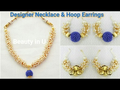 How to make Designer Silk Thread Necklace & Hoop Earrings using Loreals at Home | Tutorial