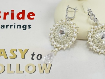 How to make earrings using 14 mm rivoli beading tutorial
