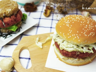 How to make Ebi Katsu Burger 2 ways - RICE Burger SHRIMP | d for delicious