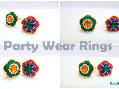 How to make Flower Shaped Party Wear Finger Rings at Home | Tutorial !!