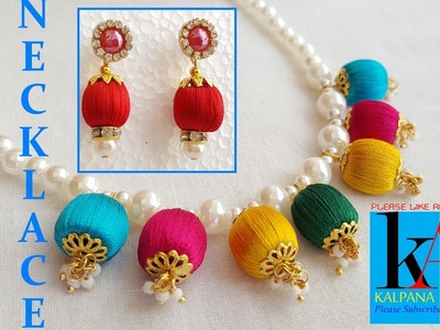 How to make pearl bridal necklace with silk thread jhumkas. earrings - DIY at home
