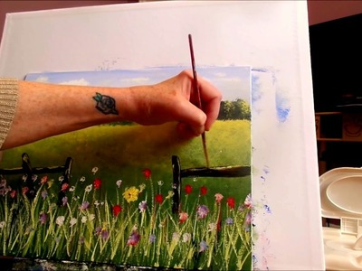 How to paint an EASY Farmhouse Landscape Lesson 3 Grass and flowers,  Step by Step