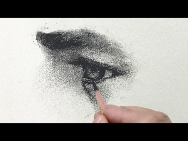 Watercolor Portrait Workshop 1 - Man in Profile - lesson 1: how to draw the eye with charcoal