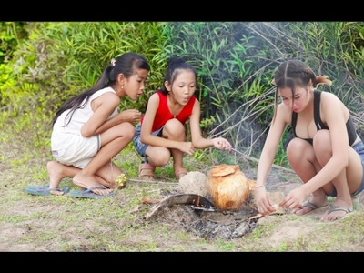 Wow!! Two Smart girls Cooking CHICKEN With Coconut - How to Cooking Chicken in Coconut Recipe