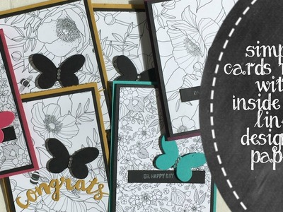 8 Cards Using Inside The Lines Designer Paper From Stampin' Up