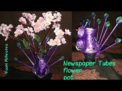DIY Newspaper flower pot easy and beautiful