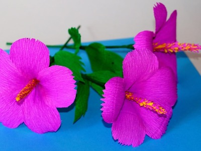 Easy Flowers making ideas. How to Make hibiscus Tissue Paper. Crepe paper flower making. Julia DIY