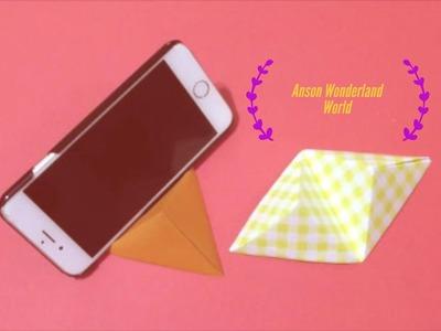 Easy Origami How to Make Smartphone Holder 简单手工折纸  手机座.簡単折り紙 スマートフォンホルダーです