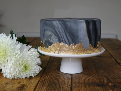 How to cover a cake with Marble fondant