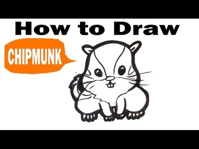 How to Draw a Chipmunk - Cute -Easy Pictures to Draw