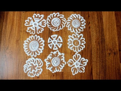 How to draw flower Rangoli Designs with finger