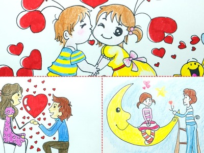 How to Draw Valentine Couple Cute Cartoons for Message Cards - 3 Drawings