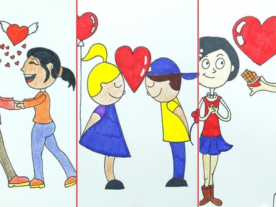 How to Draw Valentine Love Couple for Cards, Letter, Projects - 3 Drawings