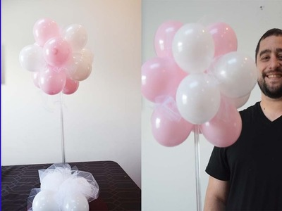 How to make a topiary balloon decoration centerpiece for Baby Shower decoaration ideas