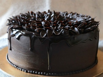 How To Make chocolate glaze and Pipe Easy Ganache Flower On Chocolate Orange Cake