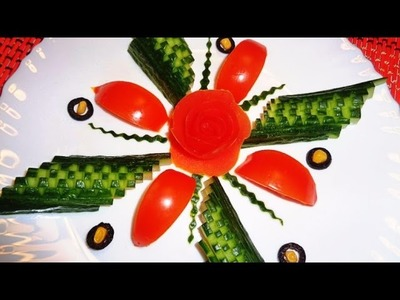 HOW TO MAKE CUCUMBER DESIGN GARNISH - TOMATO ROSE FLOWER & VEGETABLE CARVING CUTTING CUCUMBER