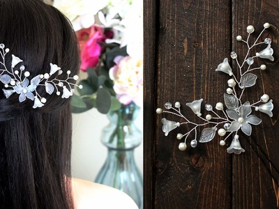 How to make Hair Pin Pearls and Lilies Flowers Hair Vind Headpiece EASY DIY